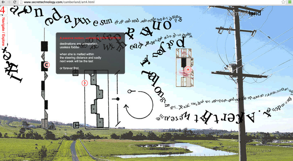 Alinta Krauth - 'Camberland' interactive digital poetry co-authored with Jason Nelson 2