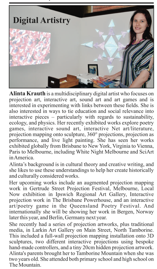 Alinta Krauth feature article tamborine times